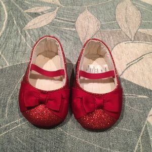 Red sequin ballet shoes